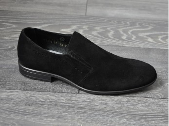 Туфлі чоловічі класичні замш+шкіра без шнурка (878)