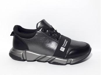 Кросівки дитячі чорні шнурок-резинка 34 (1872)