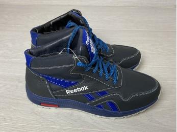 Кросівки для підлітка шкіра на шнурках зима чорний + синій (794)