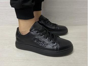 Кросівки для підлітка на шнурках чорні (1077)