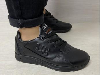 Кросівки для підлітка на шнурках чорні (1083)