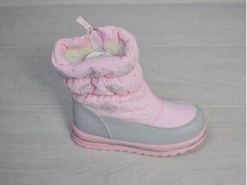 Дутики термостійкі для дівчинки зима рожевий 23-28 (2104)