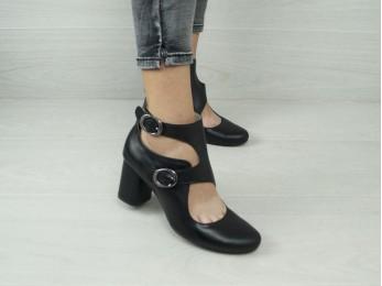 Туфлі - ботильйони жіночі шкіра чорні (2158)