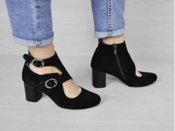 Туфлі - ботильйони жіночі шкіра + замш чорні (2159)