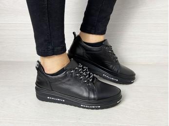 Кросівки жіночі на шнурках шкіра осінь (2361)