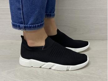 Кросівки на резинці без шнурка літо чорні 36-41 (2382)
