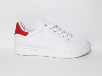 Кросівки жіночі білі з червоною пятою (2258)