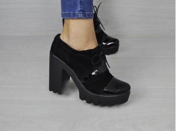 Туфлі жіночі замшеві чорні (1493)