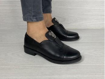 Жіночі туфлі на резинці шкіра чорні (1940)