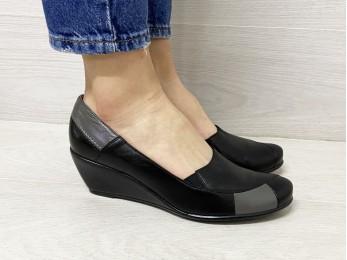 Туфлі жіночі чорні шкіра батал (01331)