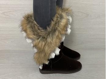 Угги  жіночі зима коричневі (00070)